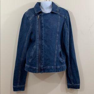 Justice Full Zip 2 Way Wear Jean Jacket  Size 14
